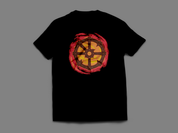limited edition burning wheel color logo t shirt