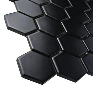 black hexagon porcelain mosaic tiles