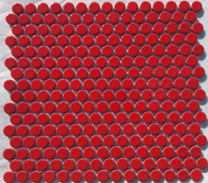 Gloss red penny round mosaic tiles