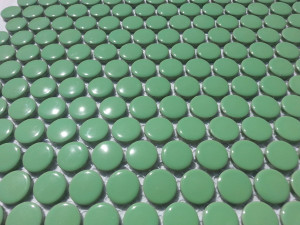 Green penny round mosaic tiles