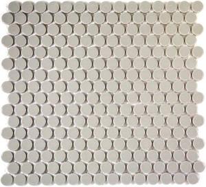 Light grey penny round mosaic tiles
