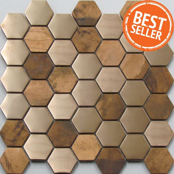 Copper hexagon mosaic tiles