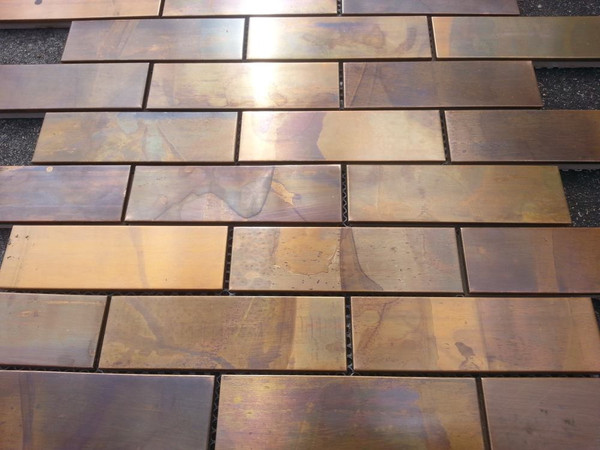 Close up of copper tiles