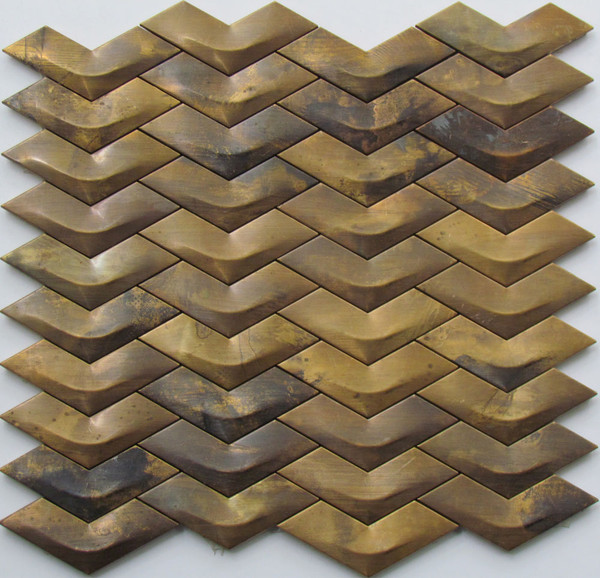 976 3D Chevron Brass Mosaic Tiles