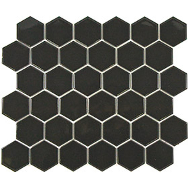black hexagon mosaic tiles