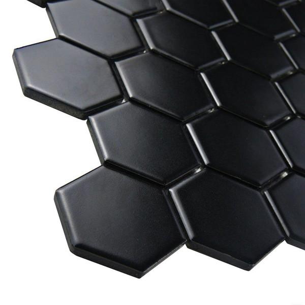 black hexagon porcelain mosaic tiles
