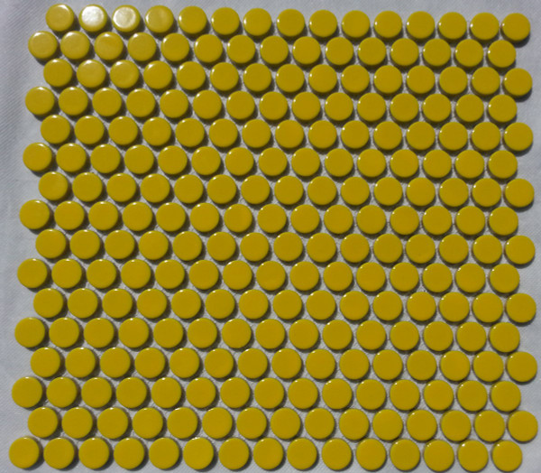 Gloss yellow penny round mosaic tiles