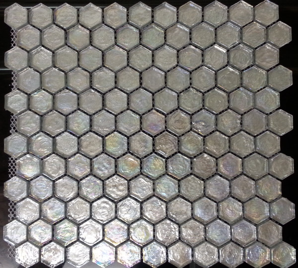 Iridescent glass mosaic hexagon