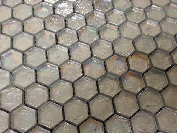 Rainbow hexagon mosaic tiles