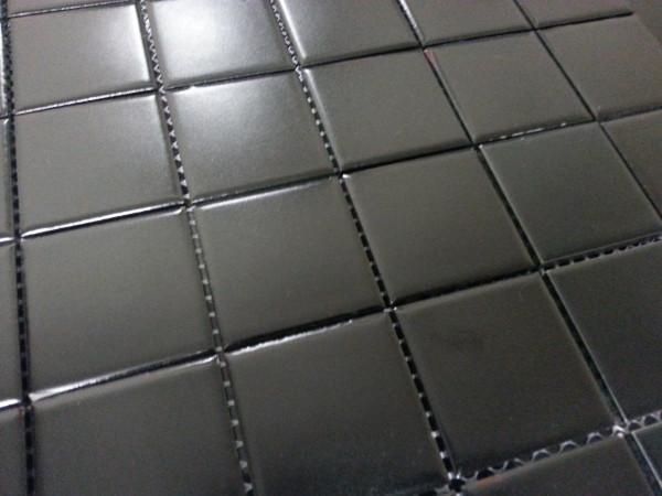 48 x 48mm matte black mosaic tiles