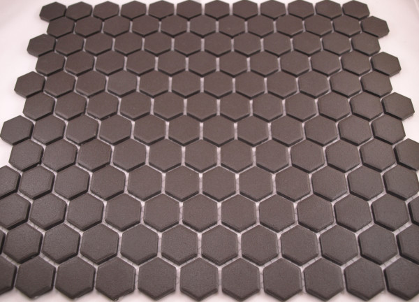 Unglazed black hexagon tiles