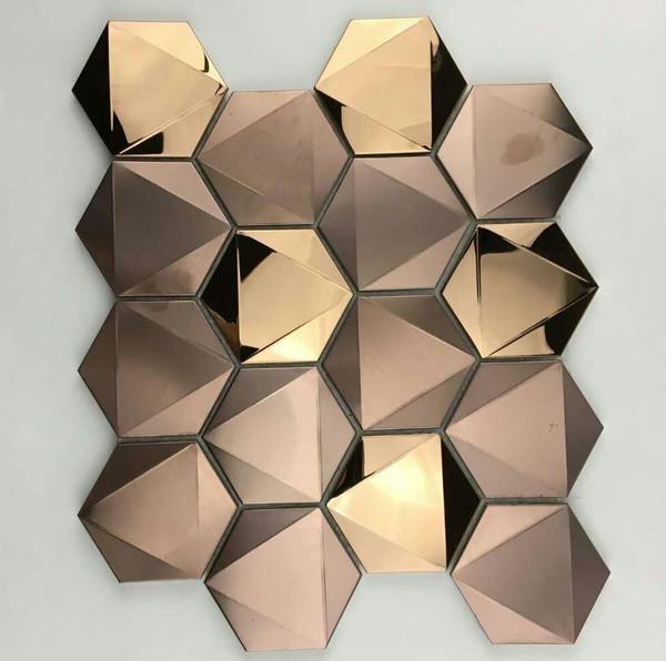 Large 3D hexagon stainless steel tiles