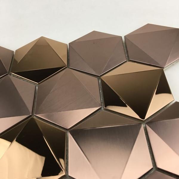 Close up of 3D hexagon mosaic tiles