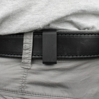 Nylon clips over belt with tucked shirt