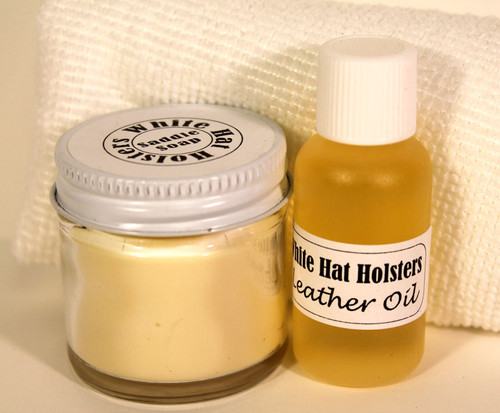 Holster cleaning process mink oil and saddle soap
