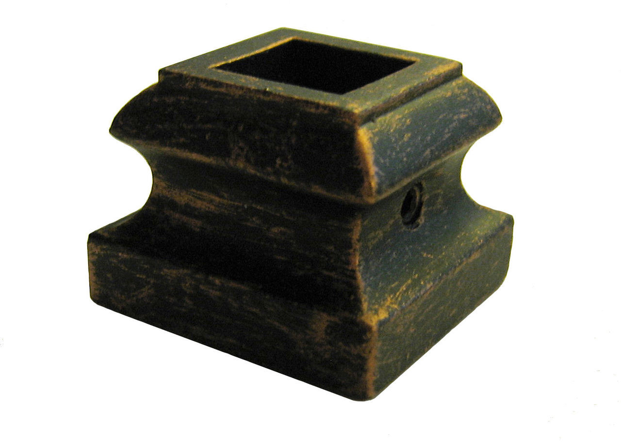 """HF16.3.19 Light Flat Shoe for 1/2"""" (12mm) Balusters; Oil Rubbed Bronze Pictured"""
