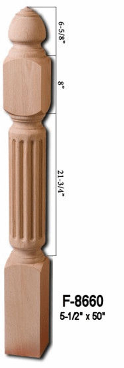 "F-8660 50"" Fluted Grande Newel Post"