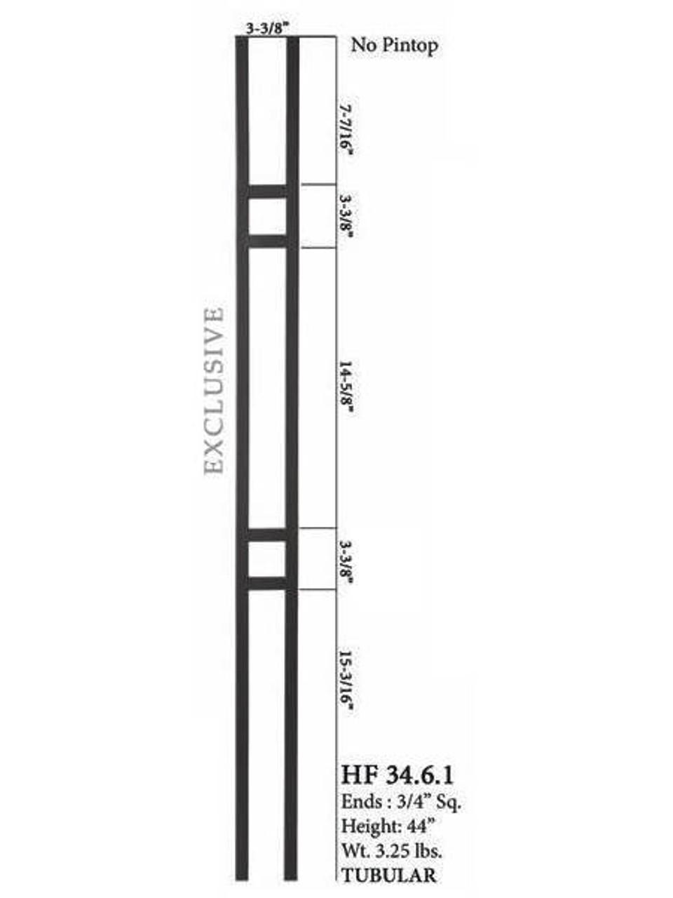 HF34.6.1 MEGA Double Square Aalto Steel Baluster 2