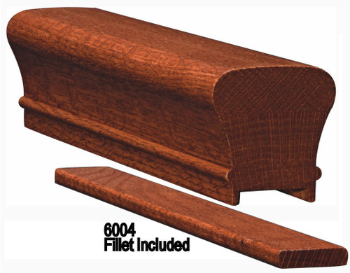 6010P Plowed Colonial Handrail, Soft Maple or Ash