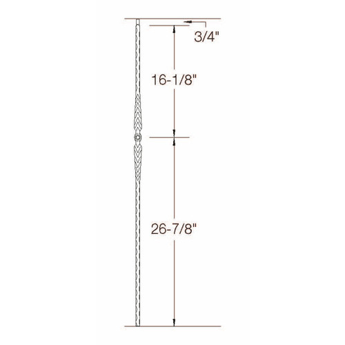 T-21 Flower with Arrows Edge Hammered Tubular Steel Baluster Dimensional Information