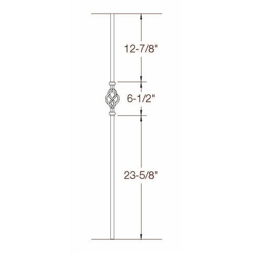 2GR04 16mm Round Single Basket, Tubular Steel Dimensional Information