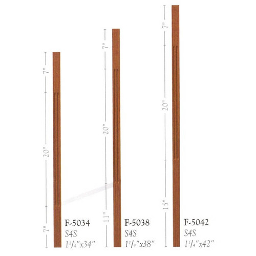 """F-5042 42"""" Fluted S4S Contemporary Baluster Set"""