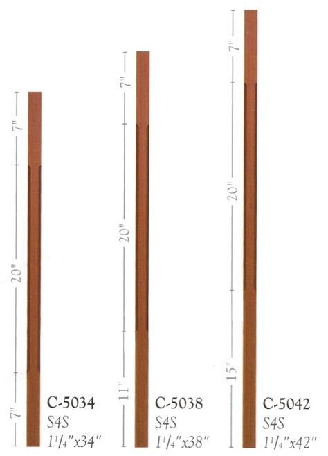 C-5038 Chamfered Contemporary S4S Baluster Set