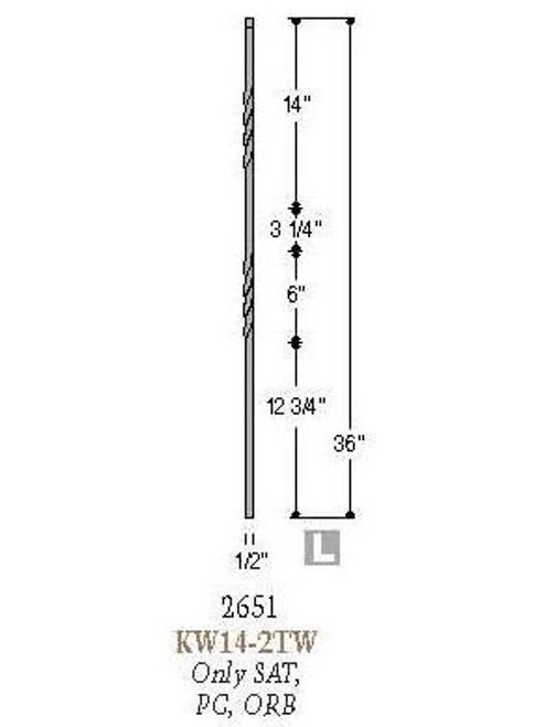 "2651 Double Twist 36"" Tubular Steel Knee Wall Baluster, 12mm Dimensional Information"