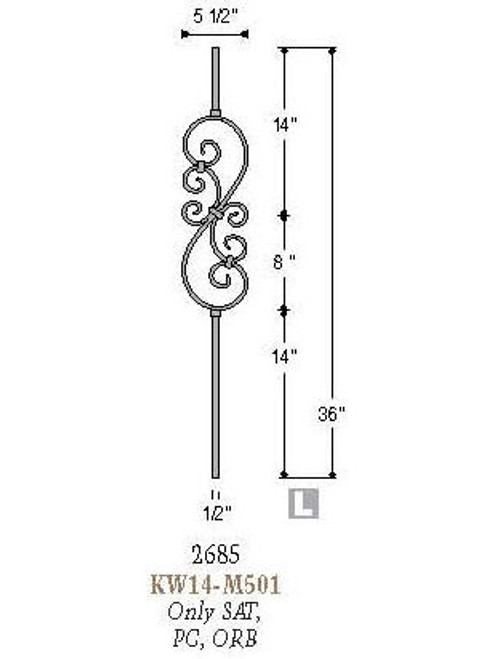 2685 Feathered S-Scroll Knee Wall Baluster, Tubular Steel, 12mm