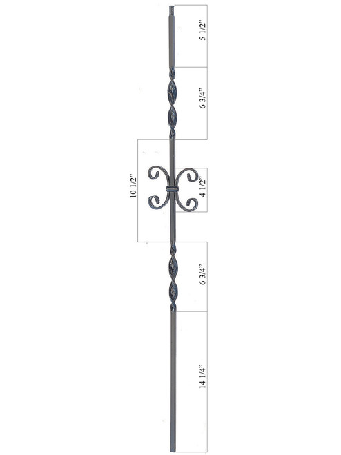 PC34/1 Double Ribbon & Scroll 1/2-inch Iron Baluster