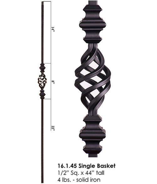 HF16.1.45 Single Basket with Knuckles Iron Baluster