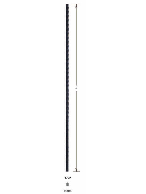 1060 Hammered Plain Bar Iron Baluster