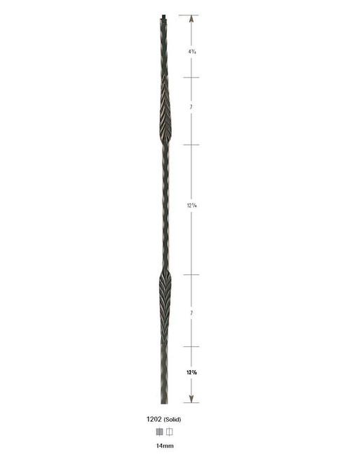 1202 Hammered Split Feather Iron Baluster