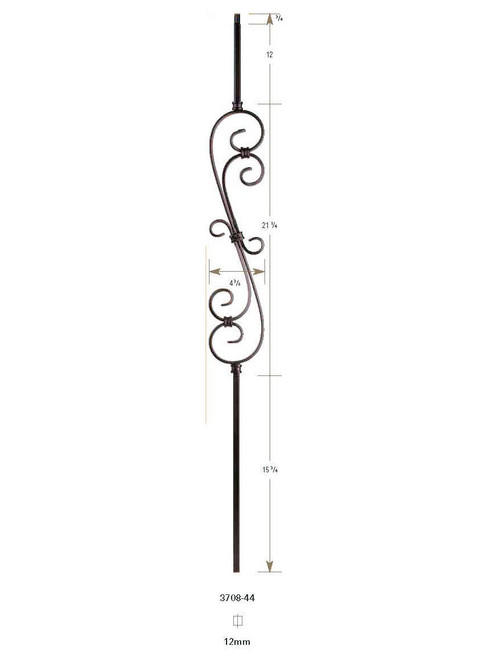"""3708-44 44"""" S-Scroll Hollow Baluster"""
