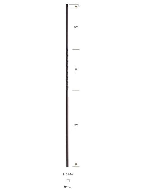 "3101-44 44"" Tubular Steel Single Twist Baluster"