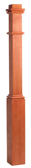 "4076 3-1/2"" x 58"" Primed Box Newel Post (Red Oak with Sleeve Pictured)"