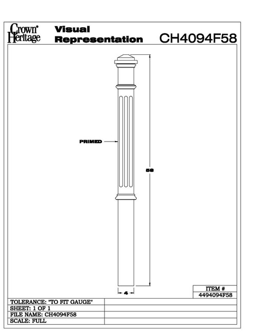 "4094-F Fluted 4"" Primed Box Newel Cadd"