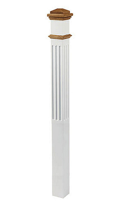 """4095-NSF No Stained, Fluted 5"""" Primed Box Newel"""