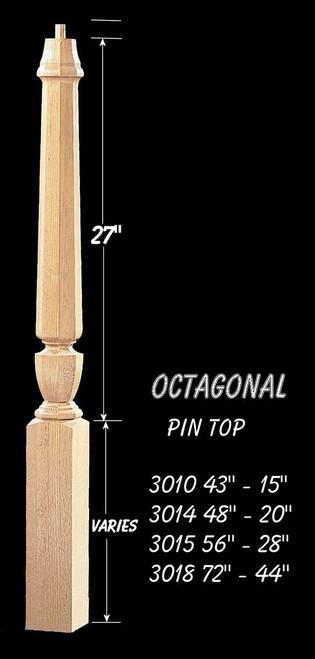 "C-3010O Octagon 43"" Universal Pin Top Newel Post"