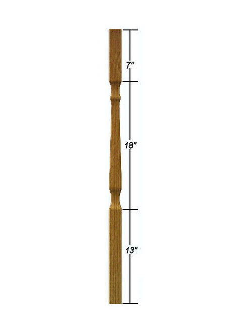 "5638 38"" Mission Style Baluster Dimensional Information"