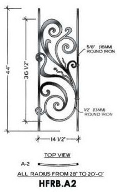 HFRB.A2 Rebecca Radius Balcony Iron Panel