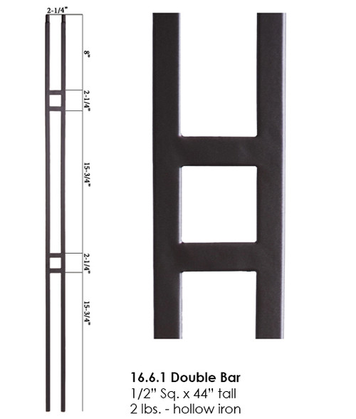 HF16.6.1 Small Double Square Hollow Baluster