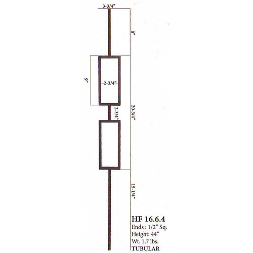 HF16.6.4 Double Square Tubular Steel Baluster