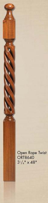 """ORT-8640 48"""" Open Rope Twist Newel Post"""