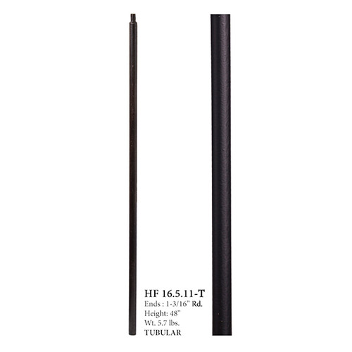 "HF16.5.11-T 1-3/16"" Ash Gray Plain Round Iron Newel Post"