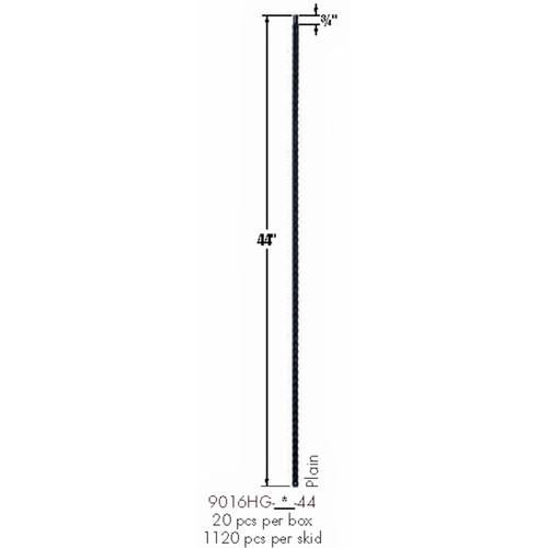 9016HG Plain Gothic Hammered Bar Dimensional Information