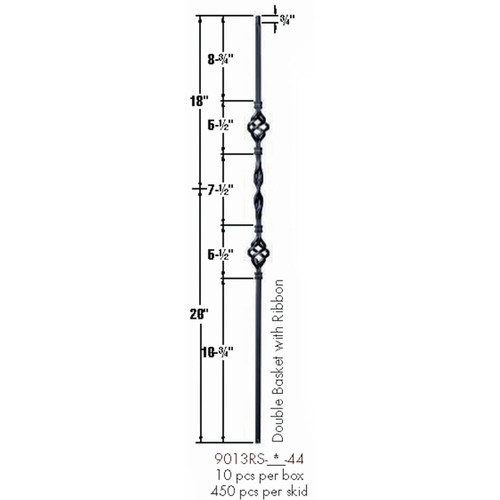 9013RS Double Basket Single Ribbon Tubular Steel Baluster Dimensional Information