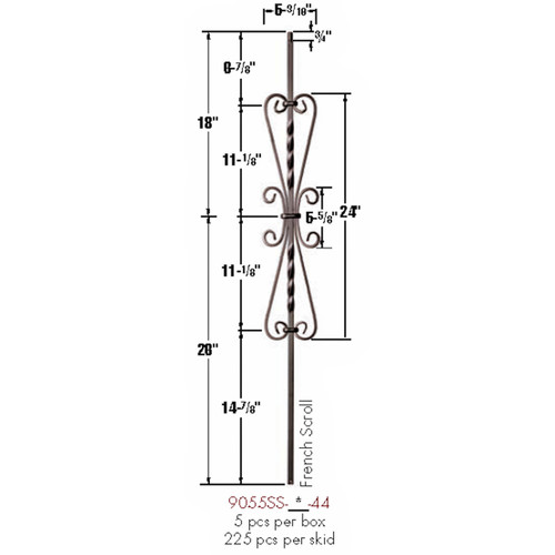 9055SS French Scroll Tubular Steel Baluster Dimensional Information