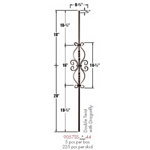 9057SS Double Twist and Dragonfly Baluster Dimensional Information