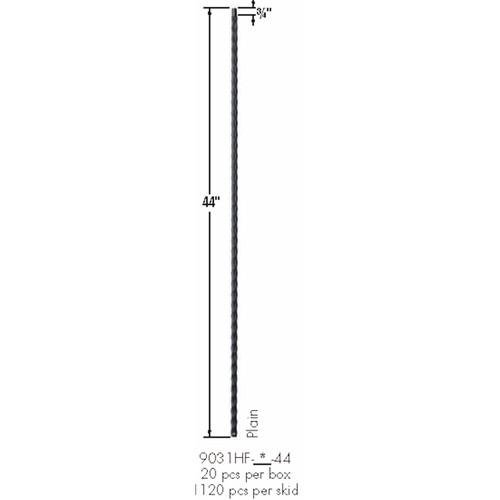 9031HF Plain Face Hammered Baluster Dimensional Information